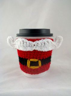 How cute!    Santa Mustache with Belt Crocheted Coffee Cozy