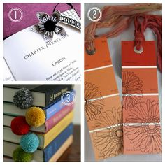 diy bookmarks. Love the paint swatch with the flowers