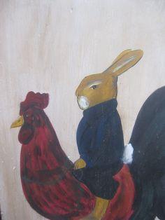 Rabbit on Rooster folk art painting by Laura Litten- Goines