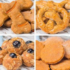A quick easy recipe for homemade Dog Treats , 4 ways, deliciously healthy treats your dog will love!