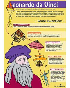 The genius of Leonardo da Vinci!! ⚙️💡 . . 🌈Follow us to see what's coming next 👉 @grafokids . . 🌈 We create infographics for your kids!… How To Create Infographics, Inventions, Coding, Kids, Young Children, Boys, Children, Children's Comics, Boy Babies