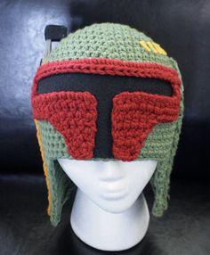 Crocheted Boba Fett Hat- Wish I could crochet...