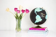 I recently saw this amazing hand painted globe at Anthropologie and I thought it would be a fun and inexpensive project to diy myself! By purchasing an old globe off of Kijiji… Painted Globe, Hand Painted, Diy Furniture Store, Old Globe, Diy And Crafts, Arts And Crafts, Style Me Pretty Living, Globe Decor, Do It Yourself Furniture