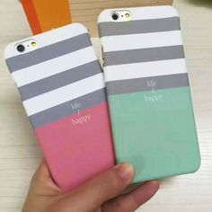 Luxury stripe Dull Polish lovers cover For iPhone 6 Case For iphone6 6 plus Hard PC Phone Cases protector life happy Phone bags