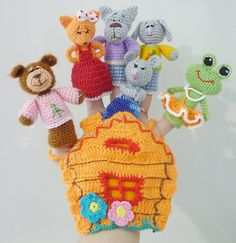 Finger puppets hand crochet Hause от RainbowHappiness на Etsy
