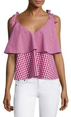 Prose & Poetry Brett Tiered Ruffled Gingham Cotton Cropped Top