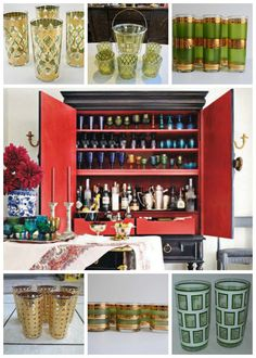 Bar set up like Mary McDonald, vintage glassware all from Ebay.