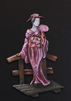 Geisha - 75mm oil painted by Marc Mussat