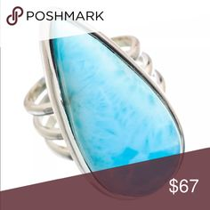 🌸Handcrafted Larimar & Sterling Silver 925 Ring🌸 🌸Handcrafted Pear Shaped Larimar Gemstone beautifully cut and set in Solid Sterling Silver 925 Stamped Artisan made one of a kind ring size 4.5 🌸 Urban Love Jewelry Rings
