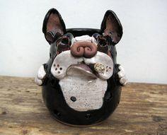 Boston Terrier Candle Holder, Boston Smoking Cigar Votive or Tea Light Candle Burner, by Square Dog Pottery via Etsy. SquareDogPottery.com