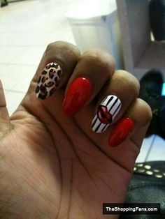 mix red nail design