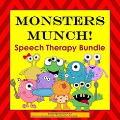 $ Monsters Munch! Speech Therapy printable bundle for Halloween or anytime! includes 3 products: Monsters Munch! Articulation & Grammar Story, Prepositions Game, Speech and Language Activities. You get a sound-loaded, interactive original story with repetitive text for initial m & ch, activities to improve basic concepts, pronouns he/she, articulation of Initial /m/ & ch, syntax, categories, conditional directions, phonological awareness. $