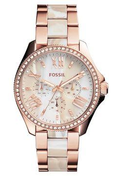 Fossil 'Cecile' Resin Link Crystal Bezel Bracelet Watch, 40mm available at #Nordstrom