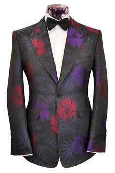 The Morgan Black with Tropical Floral Pattern - William Hunt Savile Row - 1