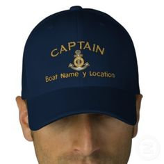 Captain Your Boat Name Your Name or Both! Embroidered Baseball Caps