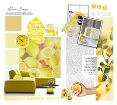 """""""Lemon decor"""" by ledianaaaaa ❤ liked on Polyvore featuring interior, interiors, interior design, home, home decor, interior decorating, Lacoste, Threshold, Pier 1 Imports and Sur La Table"""