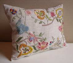 Hand embroidered cushion - floral