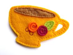 Felt Teacup Brooch - Afternoon Tea Yellow Teacup with Pink & Orange Flowers - Accessories for Women / Gift for Her / Bridesmaid Gift