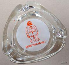 Ashtray Novelty Glass Cartoon Henry Where Are You Fat Lady Stuck Skinny Man