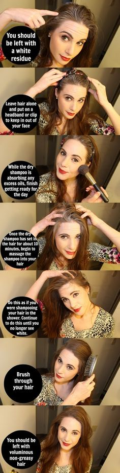 How to use dry shampoo correctly. (it shouldn't just be sprayed at scalp and brushed out immediately!)