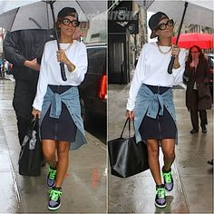 Rihanna looks super cute in her tom boy-meets-chic style as she shielded herself from the rain. She will be spending the next couple of days in the city as she prepares for the Diamonds Tour stop at the Barclays Center.