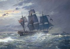 """Geoff Hunt Print - """"H.M.S. Indefatigable"""" From the Hornblower's Ships Series. H.M.S. Indefatigable was an exceptionally powerful frigate, cut down from a 64-gun ship but still carrying 24-pounders. On 13-14 January 1797 she encountered the 74-gun Droits de l'Homme. After a running fight through the night in storm conditions the French battleship was wrecked on the Brittany coast.  -- on ScrimshawGallery.com #GeoffHunt #Hornblower"""