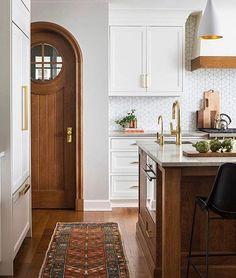 - simple geometric tile backsplash - pendants with gold interior