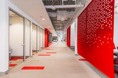 Office Tour: Scott Long Construction Headquarters – Chantilly - Home Architecture Panel, Architecture Office, Architecture Portfolio, Architecture Design, Drawing Architecture, Corporate Interiors, Office Interiors, Red Office, Orange Office
