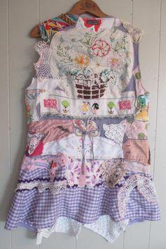 my Bonny loads of  altered vintage linens collage Clothing  Wearable Primitive Folk Art