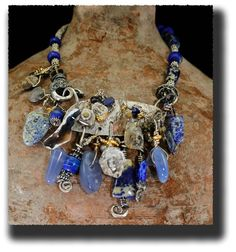 AllisonBellowsJewelry.com Sterling Silver, Lapis Lazuli, Blue Chalcedony, Florida Agatized Coral, Crystals, Fossils, Pearls, Iolite, 24K Gold Vermeil. SOLD