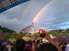 During the Feast of Divine Mercy celebrations at Divine Mercy Hills in the El Salvador city, Mindanao, Philippines (Sunday, Apr many witnessed this unusual rainbow phenomena! Divine Mercy Image, Divine Mercy Sunday, Jesus Christ Statue, Light Rays, Sun Light, Blessed Mother, Pilgrimage, Philippines, Lord