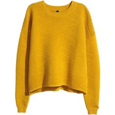 H&M Short jumper ($31) ❤ liked on Polyvore featuring tops, sweaters, shirts, jumper, mustard yellow, h&m shirts, long sleeve shirts, h&m sweater, mustard sweater and ribbed sweater