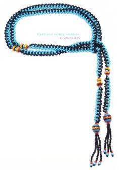 Два лариата в голубых тонах / Колье, бусы, ожерелья / Biserok.org