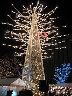 Christmas in Sapporo, Japan, very unusual tree, still beautiful