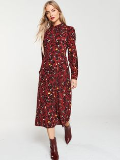 Warehouse Warehouse Floral Leopard Print Midi Dress in Burgundy Midi Dress Outfit, Dress Outfits, Fall Outfits, Fashion Outfits, Burgundy Casual Dress, Casual Dresses, Pretty Dresses, Warehouse, Floral