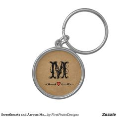 Sweethearts and Arrows Monogram Keychain Sweethearts and an arrow - rustic, country style! Add your initial, and make it your own.
