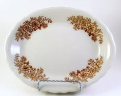 3 Sterling China Restaurant Oval Plates Brown Transferware Pattern 9 inches Serving Dinner
