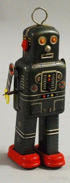 Lot 221 SY Wind-up Lithographed Tin Robot, Japan, ht. Vintage Robots, Retro Robot, Retro Toys, Vintage Toys, Nono Le Petit Robot, Japanese Robot, Arte Robot, Cool Robots, Space Toys