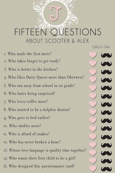 Bridal Shower Questionnaire Template Found on Etsy.com A shower game that is personal and fun! Send us your questions and colors, and we will send you a personalized game in pdf. form that you can print for super cheap at Office Depot or a printing store!
