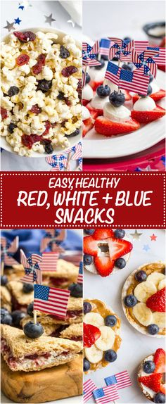 Easy, healthy July 4th appetizers and snacks that are red, white and blue - great festive ideas and recipes for kids and adults! | www.familyfoodonthetable.com
