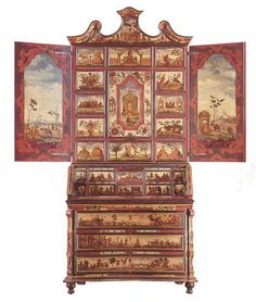 The Venetian furniture of XVIII century. A secretary bookcase made of simple lacquer.