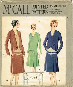 McCall Sewing Pattern 4958 Misses' Flapper Dress and Jacket Pattern Stunning Suit Style Found in the Winter 1927 Catalog Auction Does Not Come with Catalog Pages Those are Digital Scans for Your Infor