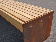 Elements 1.8m bench with medium timber slats and corten steel plates