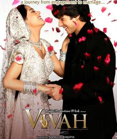 A reluctant Shahid Kapoor gets engaged to a shy Amrita Rao, and they fall in love amidst a horde of family members. The movie is special because it shows the beauty of strong family ties in India. Bollywood Posters, Bollywood Images, Bollywood Style, Bollywood Fashion, Bollywood Actress, Amrita Rao, Wedding Movies, English Movies, Movies To Watch Online