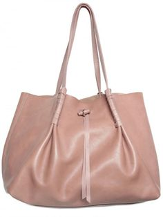 Nina Ricci Grainy Calfskin Shopper Shoulder Bag in Pink (beige) | Lyst