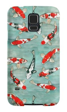 """Le ballet des carpes koï"" Samsung Galaxy Cases & Skins by Savousepate on Redbubble #galaxycase #phonecase #galaxyskin #phoneskin #koifishes #blue #green #red #orange #black #white #watercolorpainting"