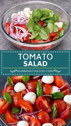 Tomato Salad Recipe - Dinner at the Zoo Tomato Salad Recipes, Best Salad Recipes, Healthy Dinner Recipes, Grape Tomato Salad, Tomato Tomato, Tomato Recipe, Pasta Recipes, Kitchen Recipes, Cooking Recipes