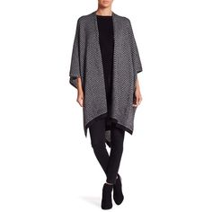Just Jamie Metallic Ruana (44 CAD) ❤ liked on Polyvore featuring outerwear and cape coat