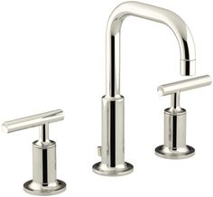 Kohler K-14406-4 Purist Widespread Bathroom Faucet with Ultra-Glide Valve Techno Polished Nickel Faucet Lavatory
