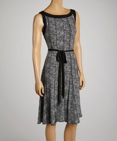 Another great find on #zulily! Black & White Dot Scoop Neck Dress by Glamour #zulilyfinds